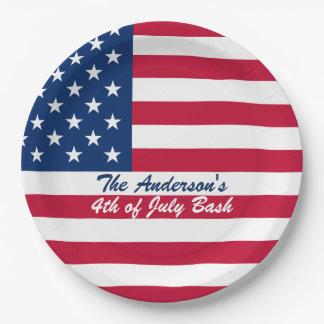 米国旗の7月4日の紙皿 ペーパープレート