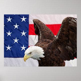 米国旗を持つ白頭鷲 ポスター