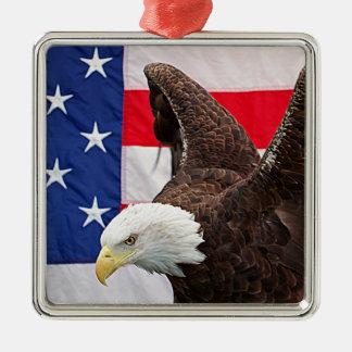 米国旗を持つ白頭鷲 メタルオーナメント