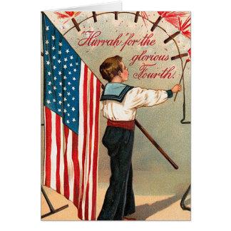 米国旗を握っているヴィンテージの第4男の子 カード