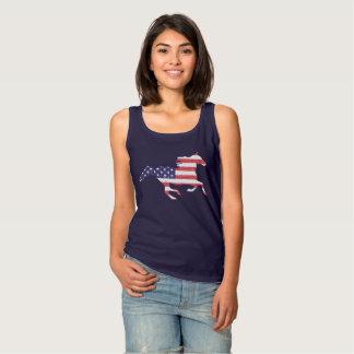 米国旗を特色にしている連続した自由な馬 タンクトップ