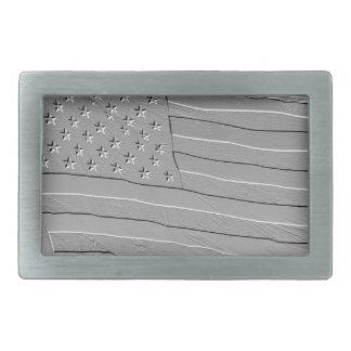 米国旗を見るエンボス 長方形ベルトバックル