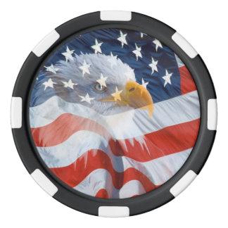 米国旗上の愛国心が強い白頭鷲 ポーカーチップ