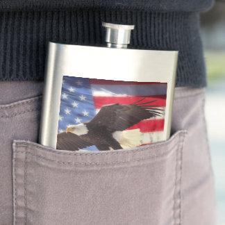 米国旗及びワシの古典のフラスコ フラスク