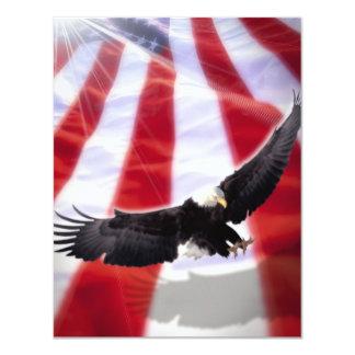 米国旗及びワシの招待状 カード