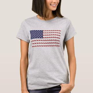 米国旗犬のTシャツ Tシャツ