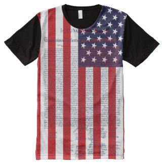 米国旗独立宣言 オールオーバープリントT シャツ