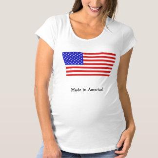 """米国旗""""アメリカで""""の妊婦のなワイシャツ作りました マタニティTシャツ"""