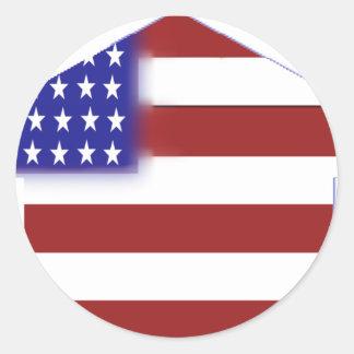 米国旗-ユニークな形 ラウンドシール