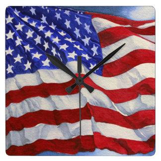 米国旗-時計 スクエア壁時計