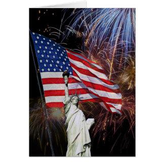 米国旗、花火および自由の女神 カード