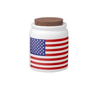 米国旗 陶器製キャンディジャー