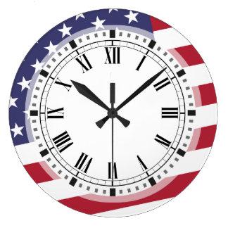 米国旗- Aの米国を祝って下さい ラージ壁時計