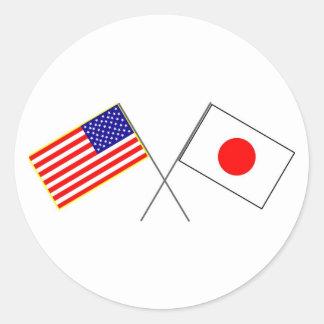 米国日本の旗 ラウンドシール