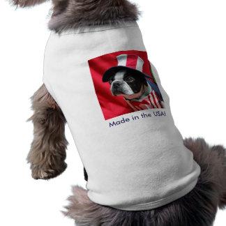 米国犬のボストンテリアのTシャツで作られる ペット服