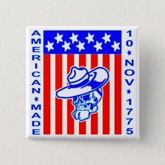米国製のスカルの旗1775年11月10日 缶バッジ