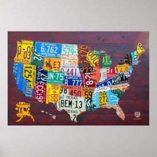 米国2012年のエドのナンバープレートの地図。 1 ポスター