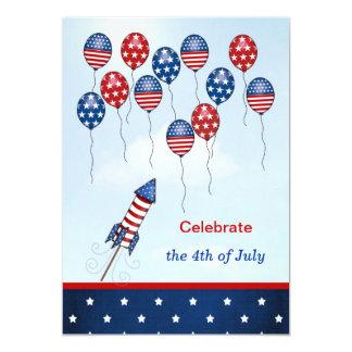 米国7月第4。 気球、ロケット、星は、縞で飾ります カード