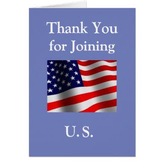 """""""米国""""の結合するために新しいアメリカの市民ありがとう カード"""