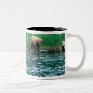 米国、アラスカのKatmaiの国立公園、ハイイログマ4 ツートーンマグカップ