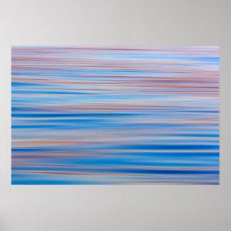 米国、アラスカ。 日没の水抽象芸術 ポスター