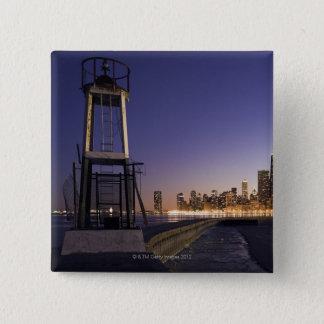 米国、イリノイ、シカゴの湖2からの都市スカイライン 5.1CM 正方形バッジ