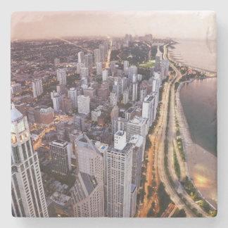 米国、イリノイ、シカゴ、湖の空中写真 ストーンコースター