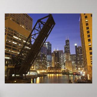 米国、イリノイ、シカゴ、Chicago川 ポスター