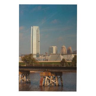 米国、オクラホマ、オクラホマシティーのスカイライン ウッドウォールアート