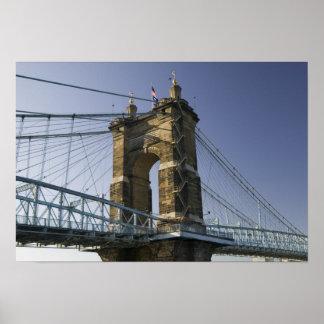 米国、オハイオ州、シンシナチ: Roeblingの懸濁液3 ポスター
