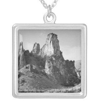 米国、オレゴンの造岩 シルバープレートネックレス
