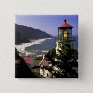 米国、オレゴン、フィレンツェ。 Hecetaのヘッド灯台 5.1cm 正方形バッジ