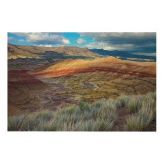 米国、オレゴン。 色彩の鮮やかな丘の景色 ウッドウォールアート