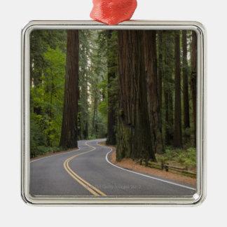 米国、カリフォルニアのレッドウッドの森林を通した道 メタルオーナメント