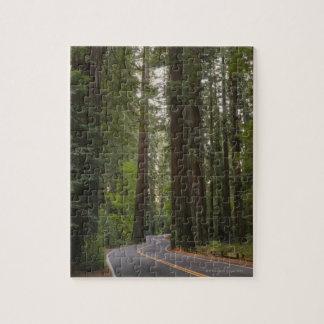 米国、カリフォルニアのレッドウッドの森林2を通した道 ジグソーパズル