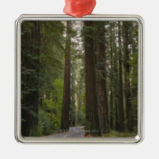 米国、カリフォルニアのレッドウッドの森林2を通した道 メタルオーナメント