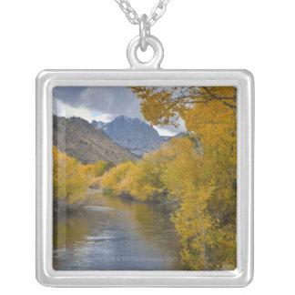 米国、カリフォルニアの東の山脈を通した川 シルバープレートネックレス