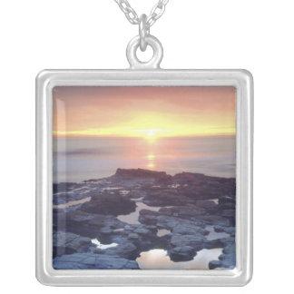 米国、カリフォルニア、サンディエゴ。 日没の崖の潮 シルバープレートネックレス