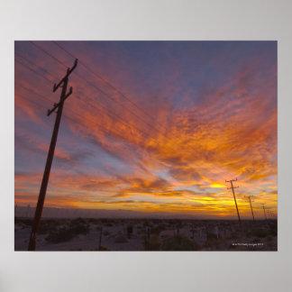米国、カリフォルニア、パーム・スプリングスの電力線の ポスター