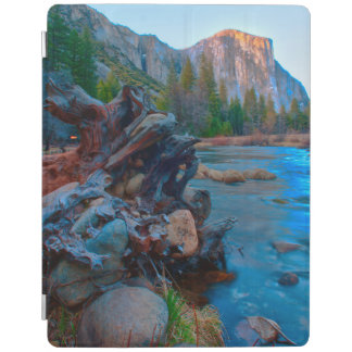 米国、カリフォルニア。 Mercedの川の木の根 iPad カバー