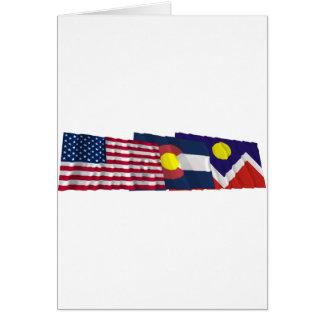 米国、コロラド州およびデンバーの旗 カード