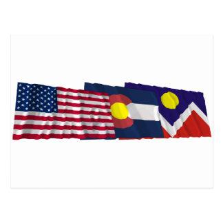米国、コロラド州およびデンバーの旗 ポストカード