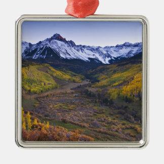 米国、コロラド州のロッキー山脈、サンファン シルバーカラー正方形オーナメント