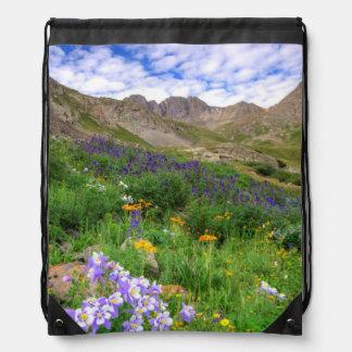 米国、コロラド州。 アメリカの洗面器の野生の花 ナップサック