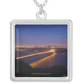 米国、サンフランシスコの金3の都市スカイライン シルバープレートネックレス