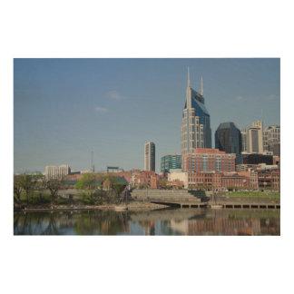 米国、テネシー州、ナッシュビル。 Cumberland川 ウッドウォールアート