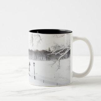 米国、ニューヨークシティ、冬のセントラル・パーク ツートーンマグカップ