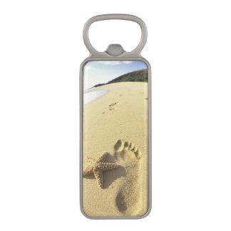 米国、ハワイ、マウイのMakenaのビーチ、足跡 マグネット栓抜き