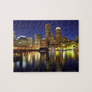 米国、ボストンの夜の都市スカイライン(長く ジグソーパズル
