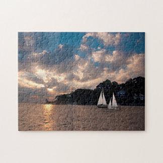 米国、マサチューセッツ。 日没の航行 ジグソーパズル